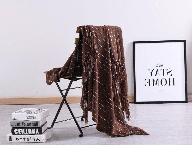 51x67 Knitted Blanket Bed Sofa Decorative Waffle Pattern