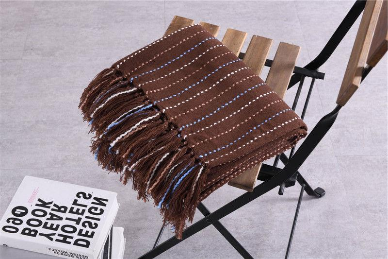 51x67 Soft Knitted Blanket Bed Decorative Fringe Waffle