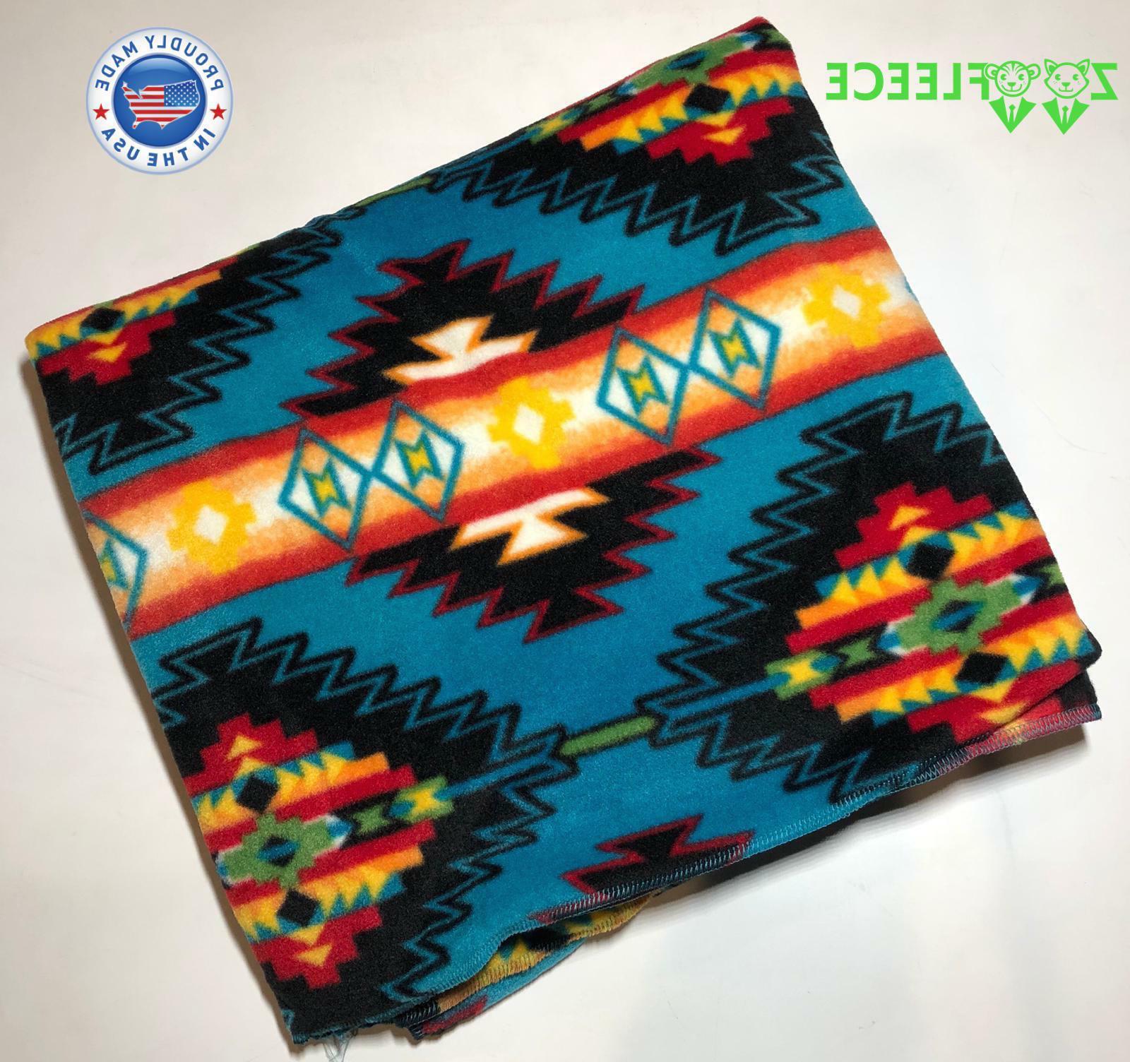 55x60 blue aztec pattern native american blanket