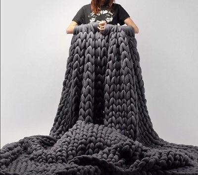 120*150cm Knitted Thick Merino Wool Throw