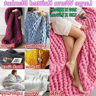 120*150cm Chunky Knitted Blanket Thick Wool