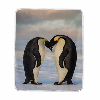 ALAZA King Penguin Love Heart Plush Throws Siesta Camping Tr