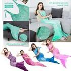 Adults Kids Flannel Mermaid Tail Cozy Soft Warm Throw Blanke