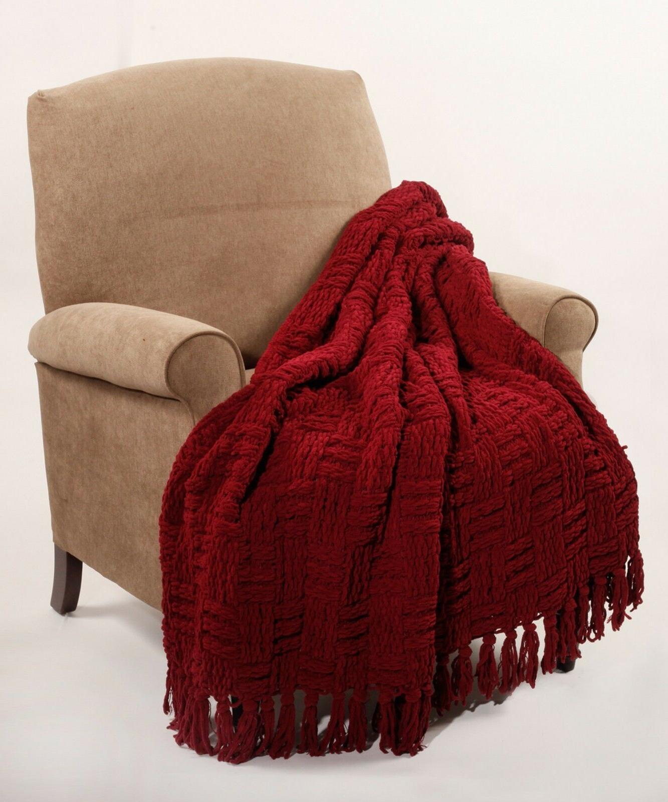 BOON Bedding Cable Knitted Throw Couch Cover Blanket Light W
