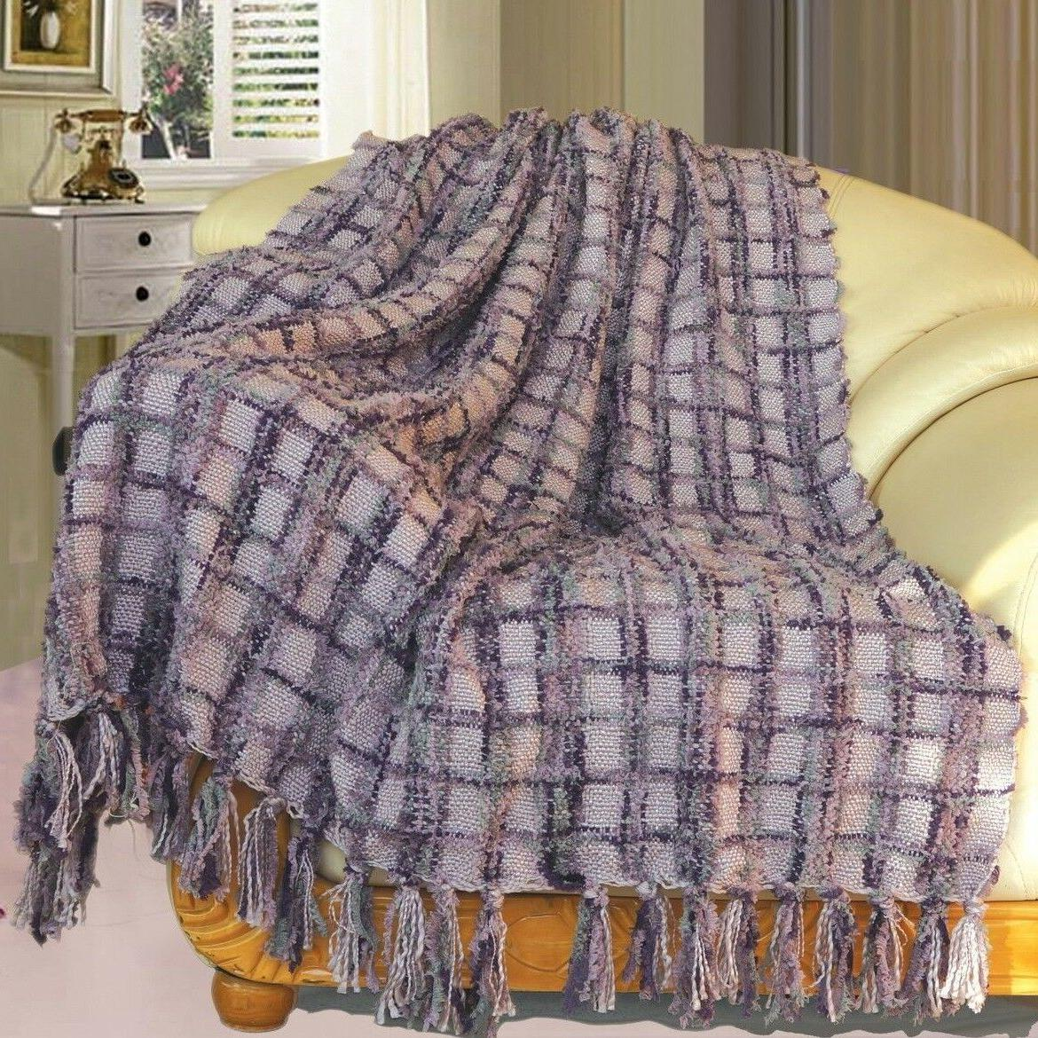 BOON Multi Color Chenille Couch Throw Blanket Light Weight W