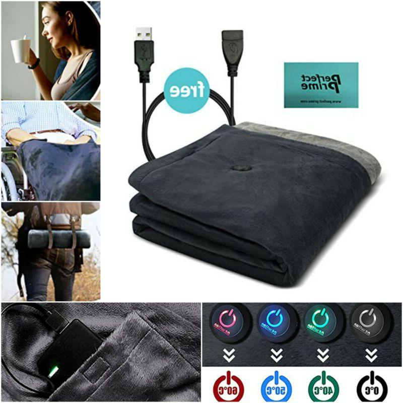 Battery Powered Heated Blanket Soft Fleece Portable Usb