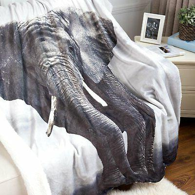 Elephant Sherpa Throw Blanket Animal Bedding Blanket 50x60 R