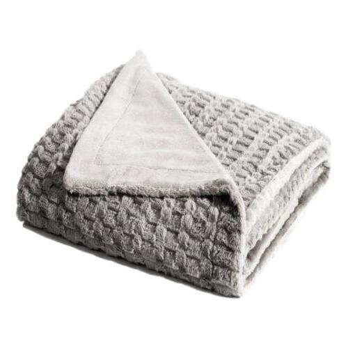 """Bedsure Faux Fur Throw Blanket Fleece Bed 50""""x60"""" Solid Grey"""