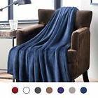 Bedsure Flannel Fleece Luxury Blanket Navy Twin Size Lightwe