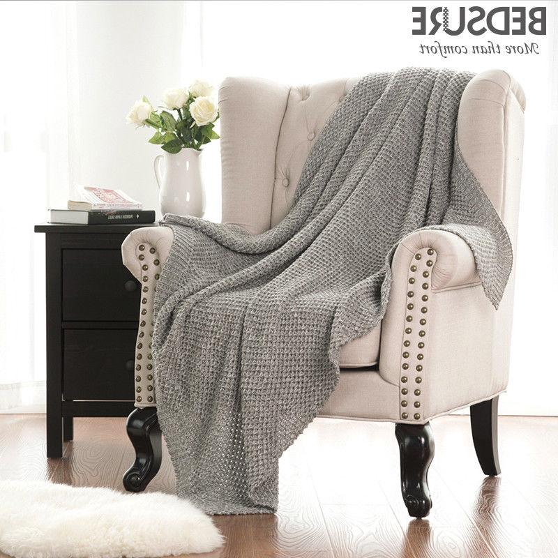 Bedsure Knitted Throw Blanket for Sofa and Couch Soft and Co