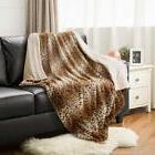 "Bedsure Leopard Throw Blanket Faux Fur Bed 50""x60"" Light Bro"