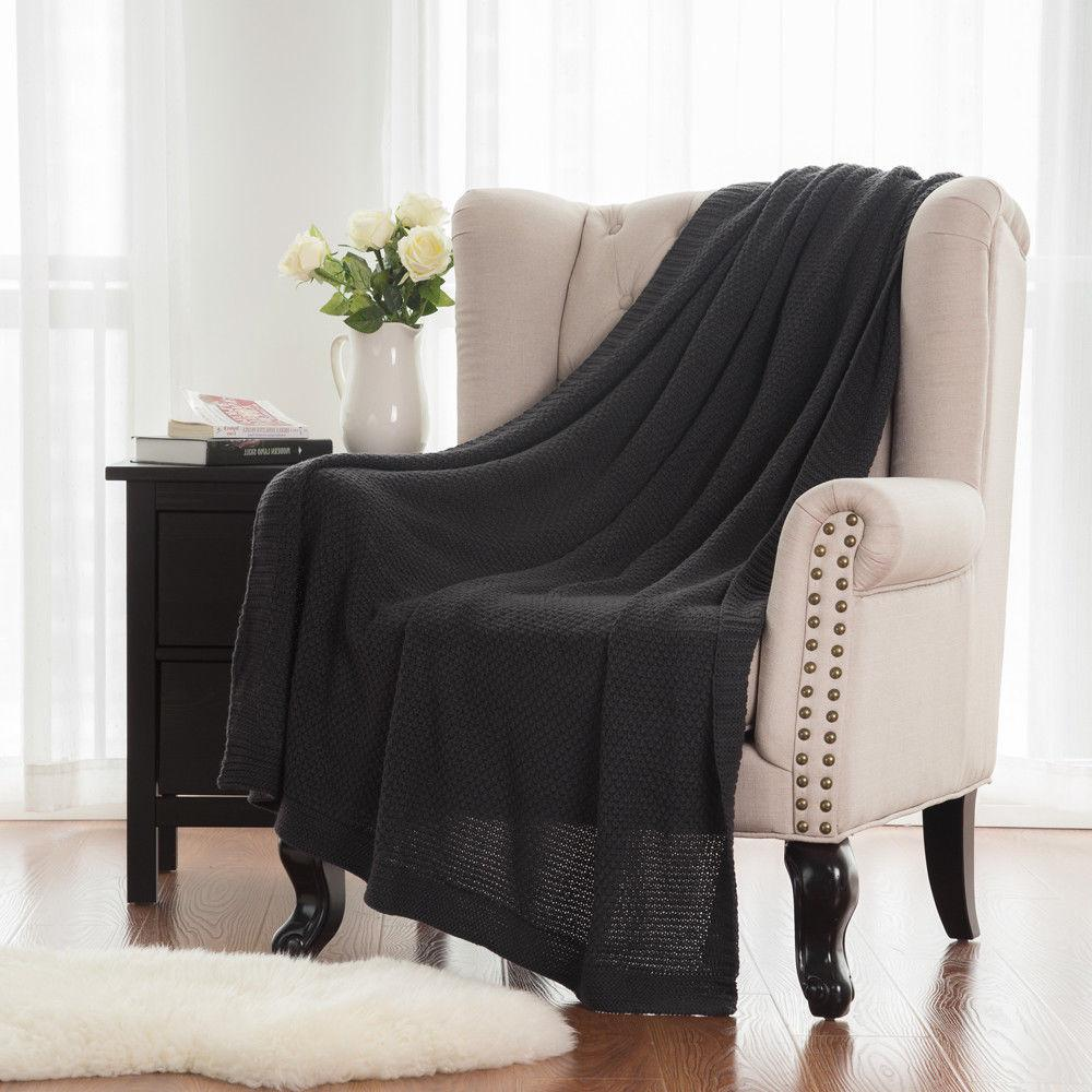 lightweight knit throw blanket for sofa