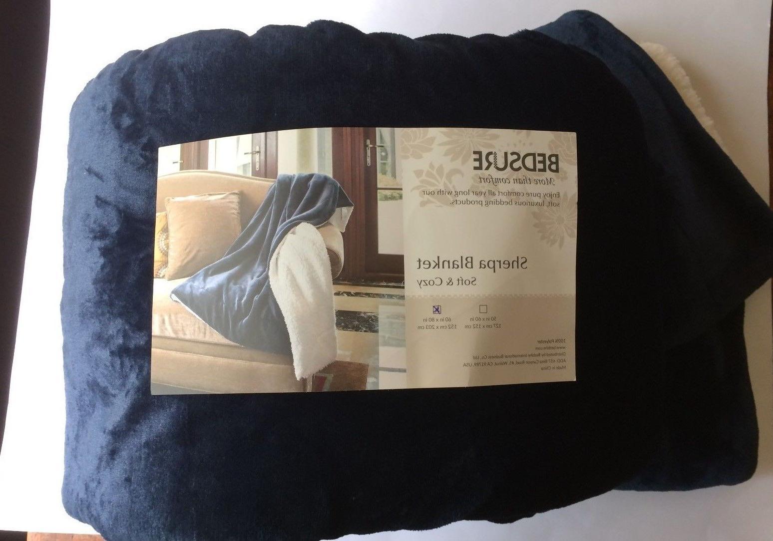Bedsure Navy Blue Throw/Twin Blanket Super Soft Luxurious Sh