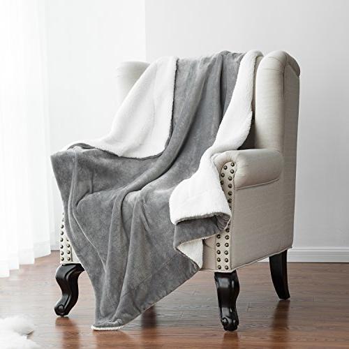 BEDSURE Sherpa Fleece Throw Size Throw Soft Blanket