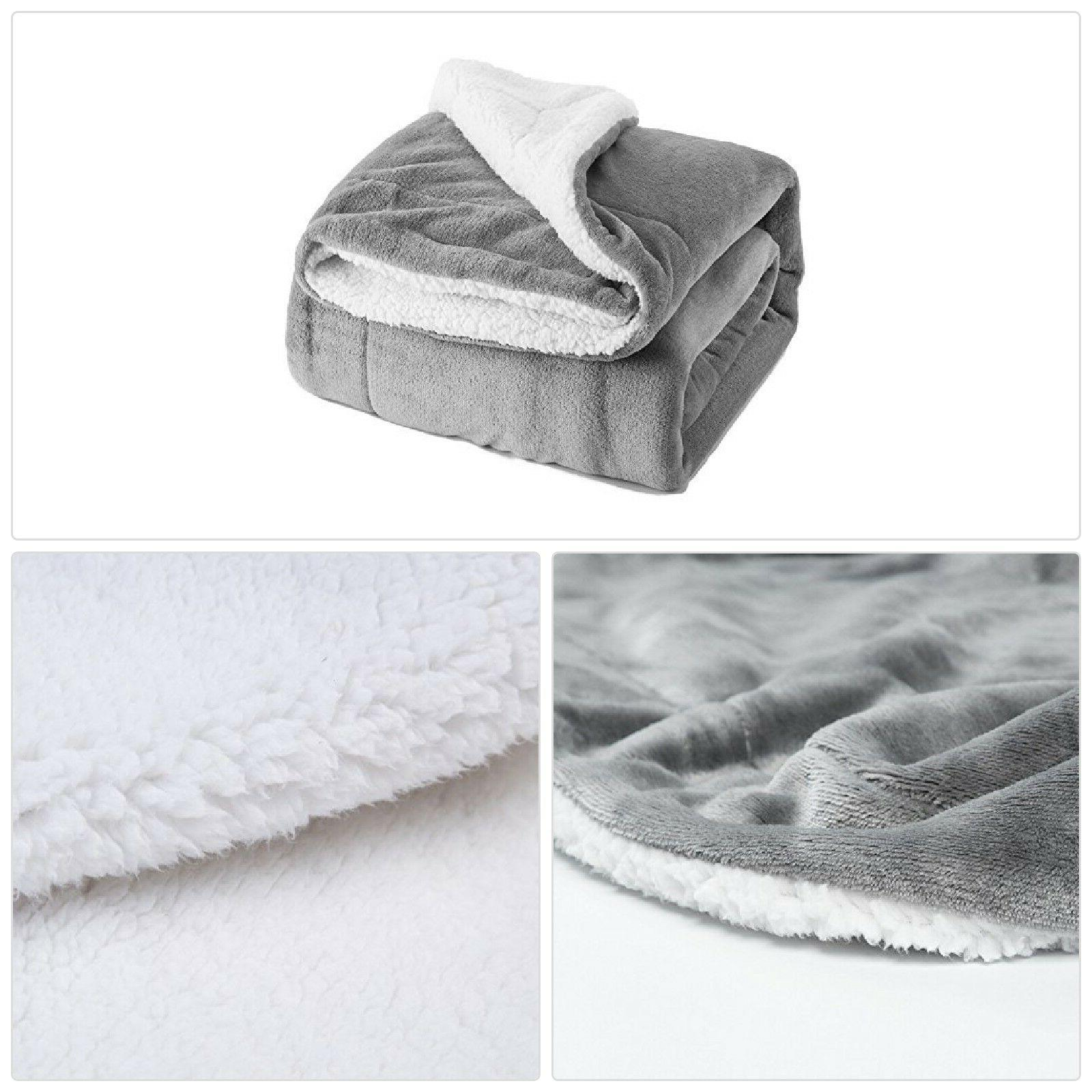 Bedsure Sherpa Throw Blanket Silver Grey Twin Size Reversibl