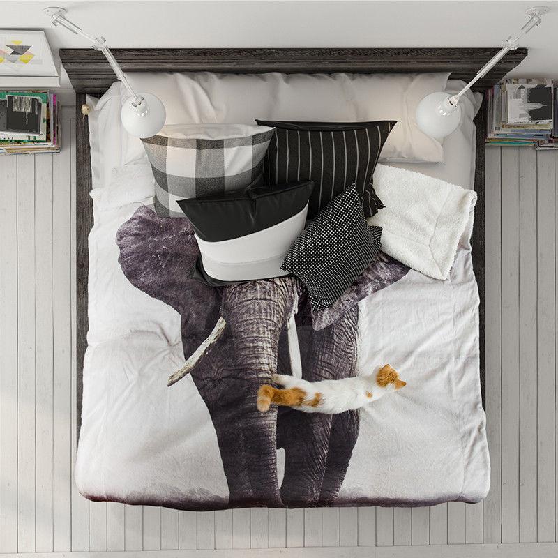 Bedsure Animal Bedding Reversible Throw Grey
