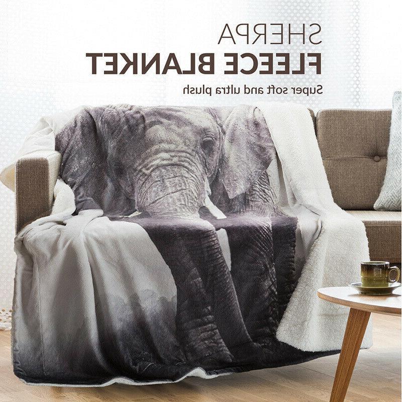 Bedsure Elephant Sherpa Blanket Animal Bedding Reversible Bl