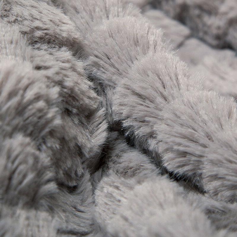 Bedsure Luxury Solid Fur Throw Super Soft Gray