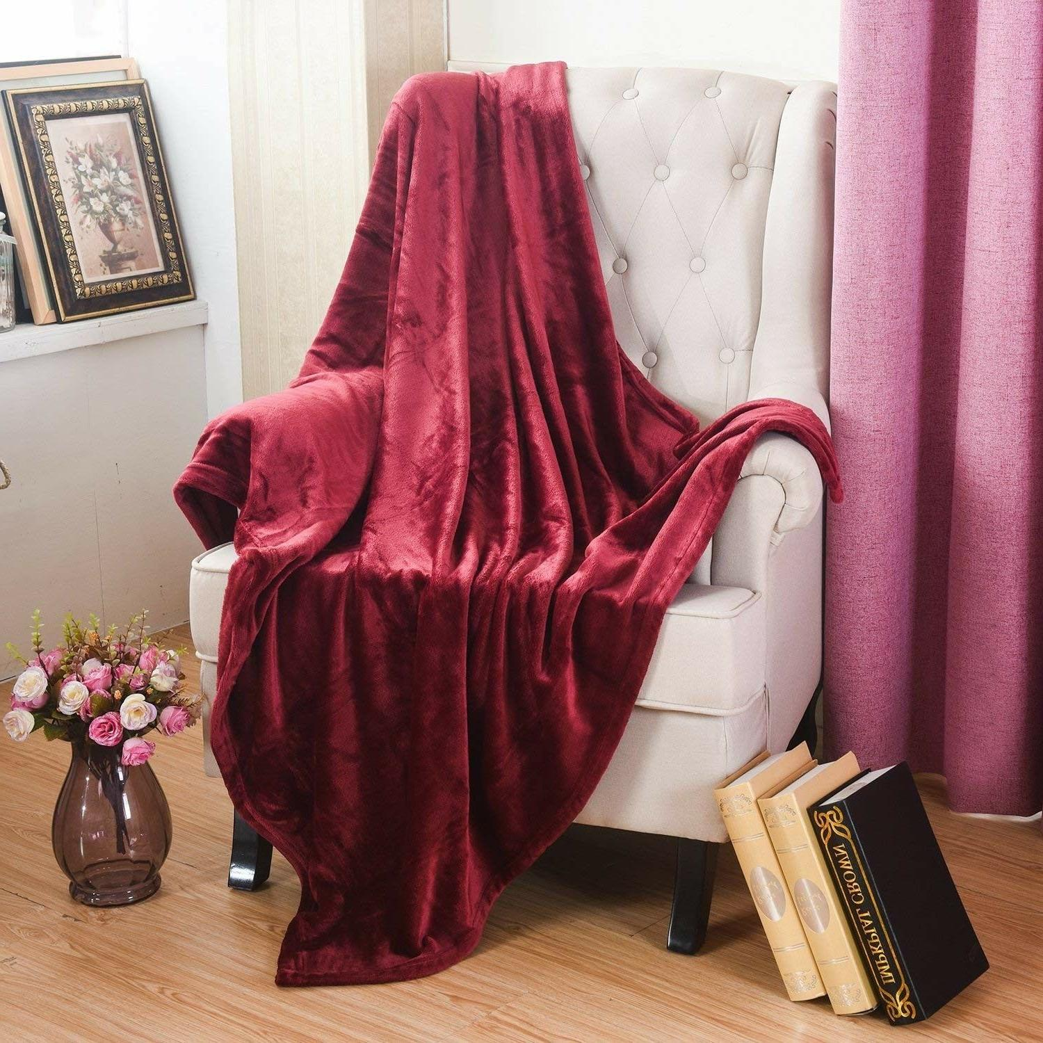 Burgundy Throw Blanket Faux Fur Soft Warm Plush Couch Sofa C