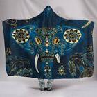 Colorful Indian Elephant Blue Hooded Blanket