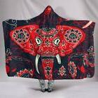 Colorful Indian Elephant Red Hooded Blanket