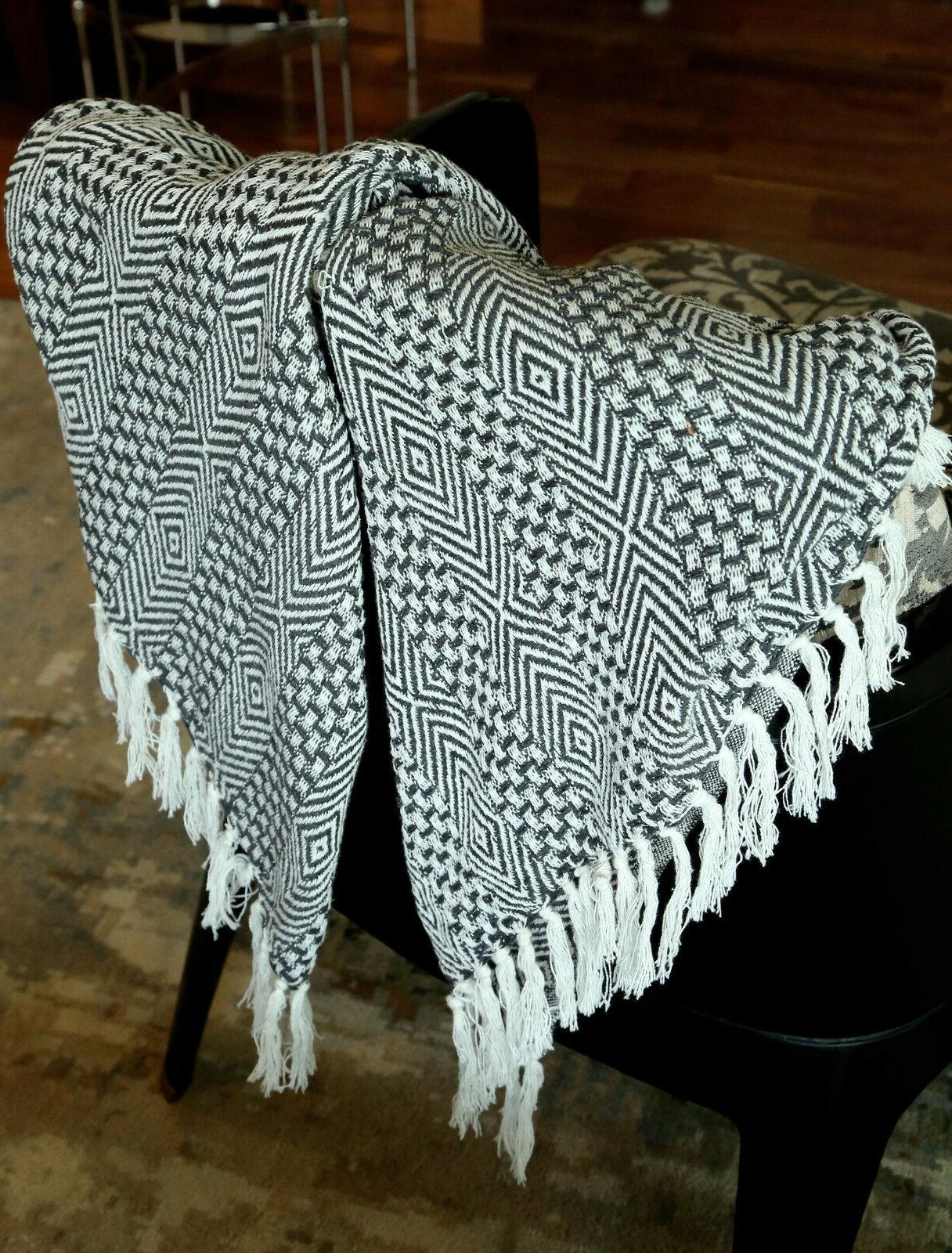 Cotton Gray Woven Blanket 60 inches