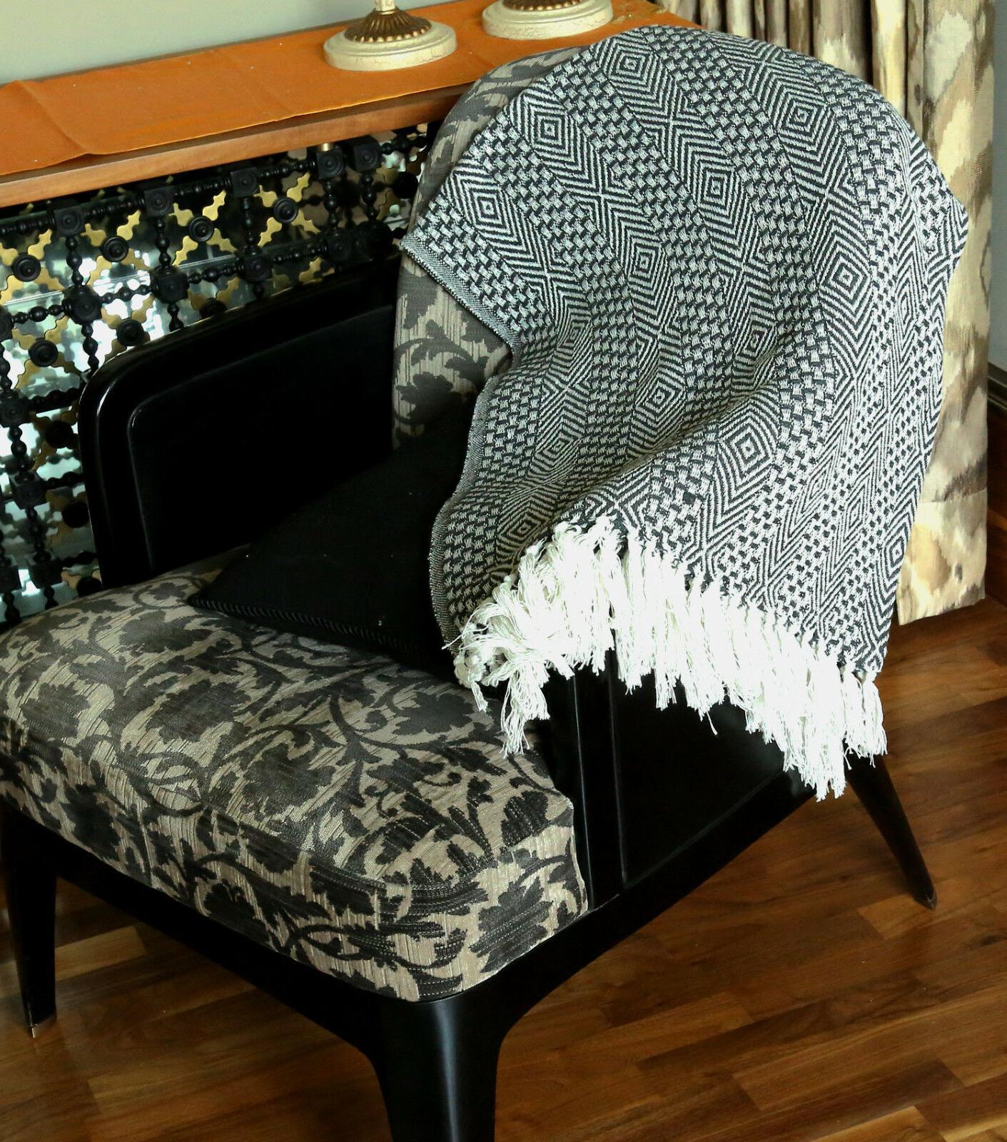 Cotton Gray Woven Throw Blanket x 60 inches