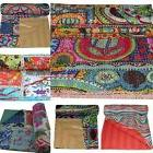 Cotton Kantha Quilt Bedding Reversible Handmade Bedspread In