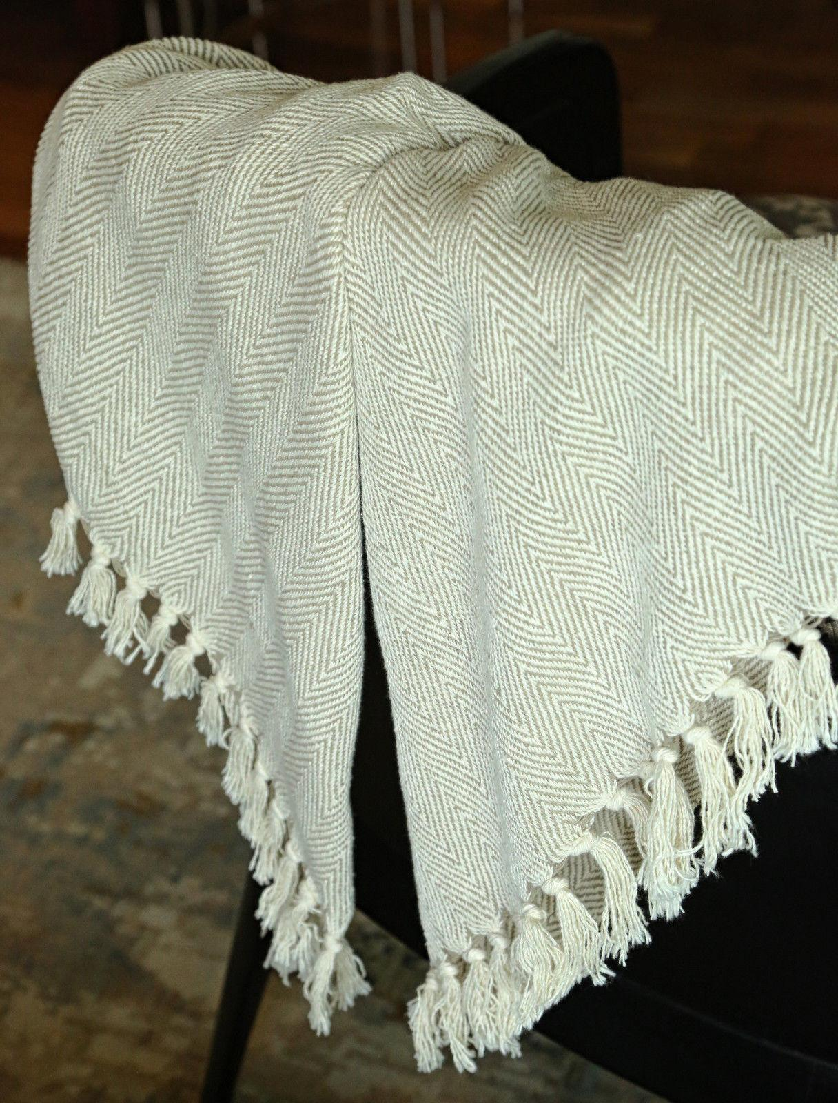 Cotton Tassel Soft Warm Reversible Luxury Throw