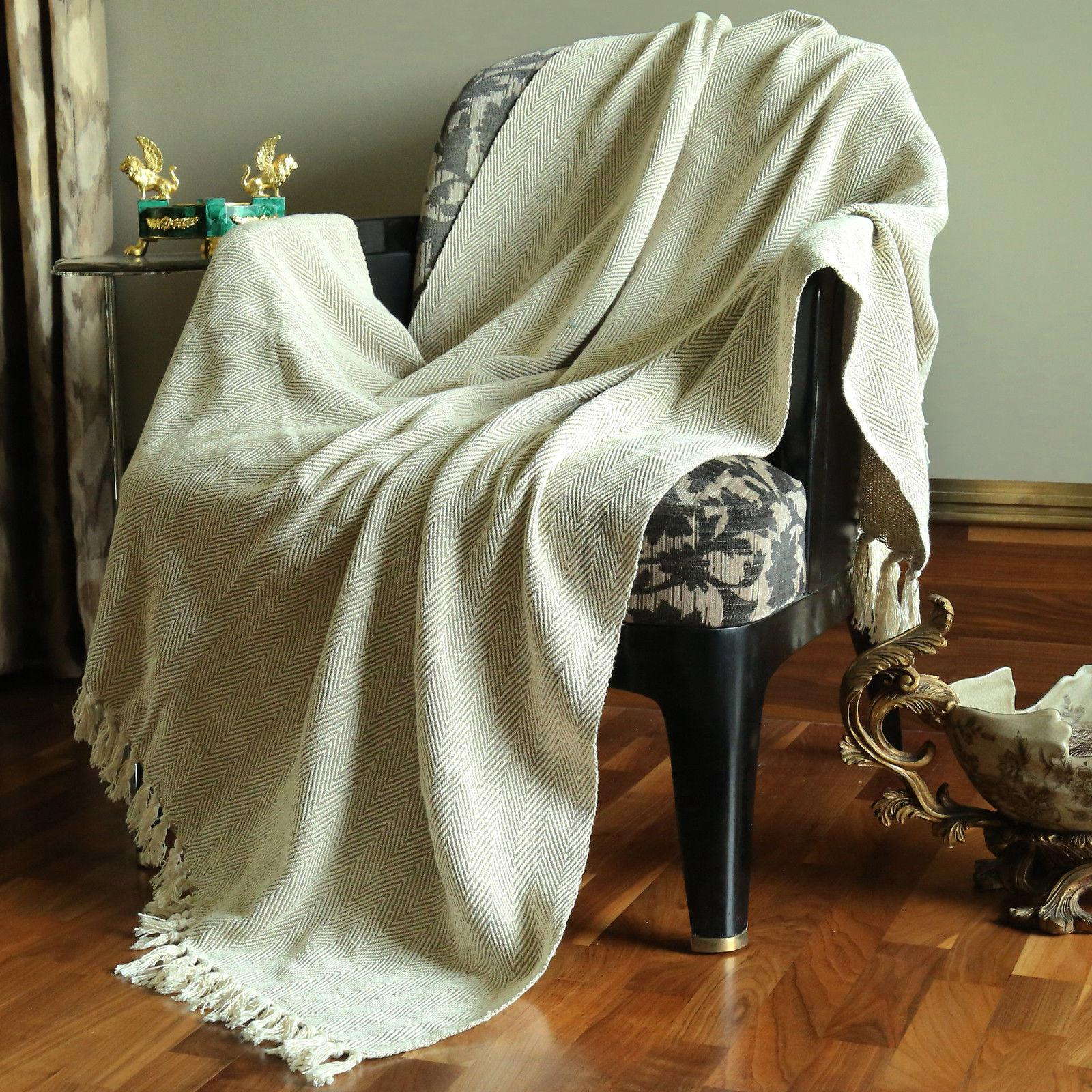 Cotton Tassel Throw Woven Soft Warm Reversible Luxury Throw