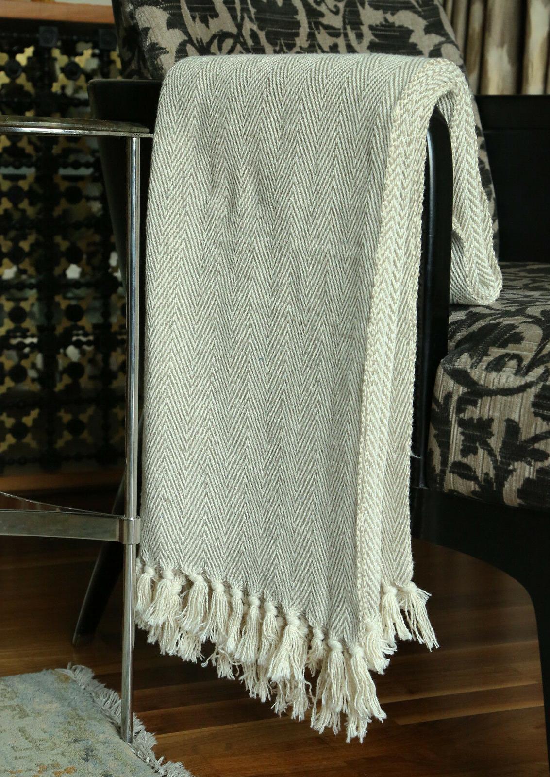Cotton Tassel Throw Woven Soft Warm Reversible Throw