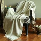 Cotton Tassel Throw Woven Soft Warm Reversible Luxury Throw
