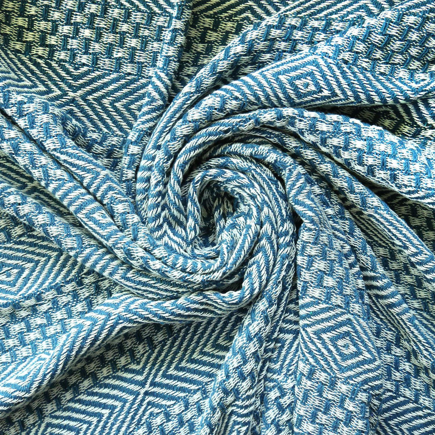 Cotton Teal Geometric Woven Throw 60 inches