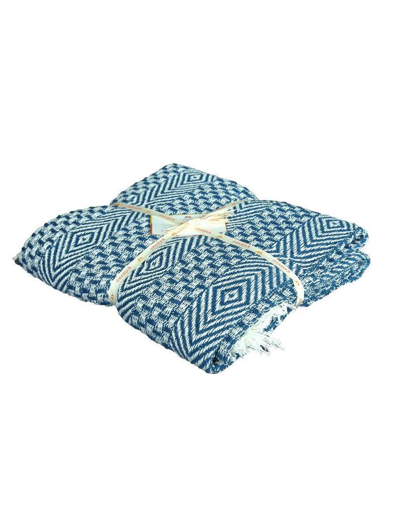 Cotton Teal Blue Geometric Throw Blanket 50 x