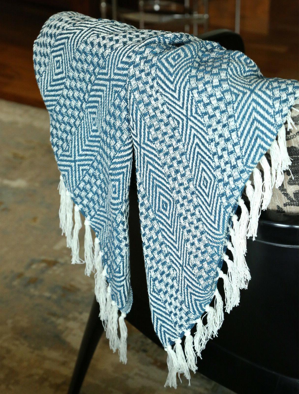Cotton Teal Geometric Woven Soft Throw 60
