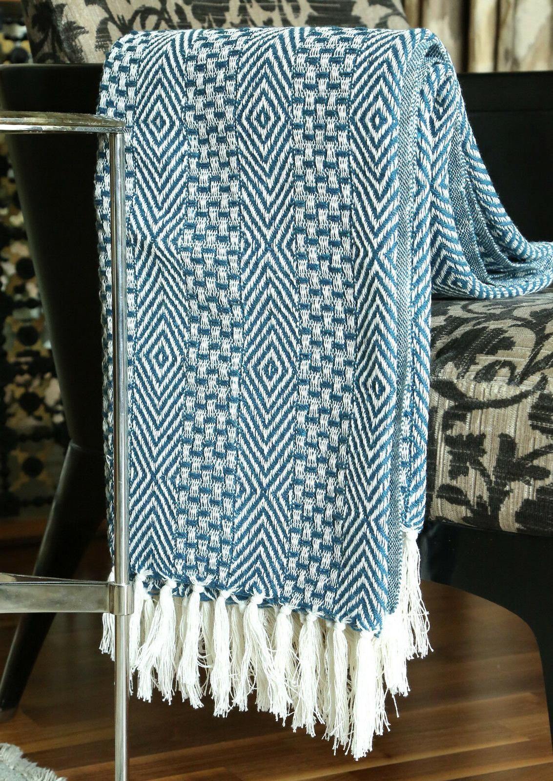 Cotton Blue Geometric Woven Soft Patio Throw 60 inches