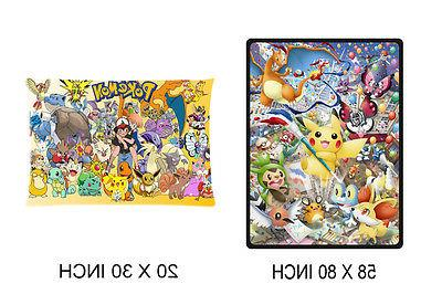 Custom Pokemon Soft Throw Blanket 58 x 80 Inch And Pillow Ca