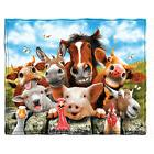Dawhud Direct Farm Animals Selfie Fleece Throw Blanket
