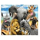 Dawhud Direct Safari Animals Selfie Fleece Throw Blanket