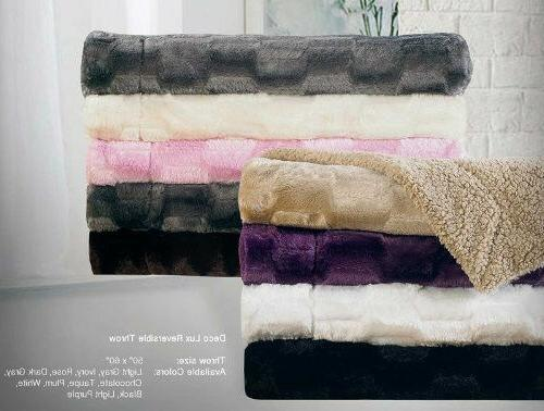 Deco Luxury Faux Fur Sherpa Reversible Solid Throw Blankets