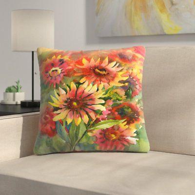 East Urban Home Blanket Flowers Throw Pillow