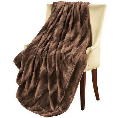 Elegant & Soft Faux Fur Throw Blanket, by Collections Etc