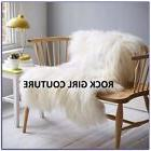 "Fur Blanket Throw White Huge 55"" x 70""  Shabby Chic pier one"