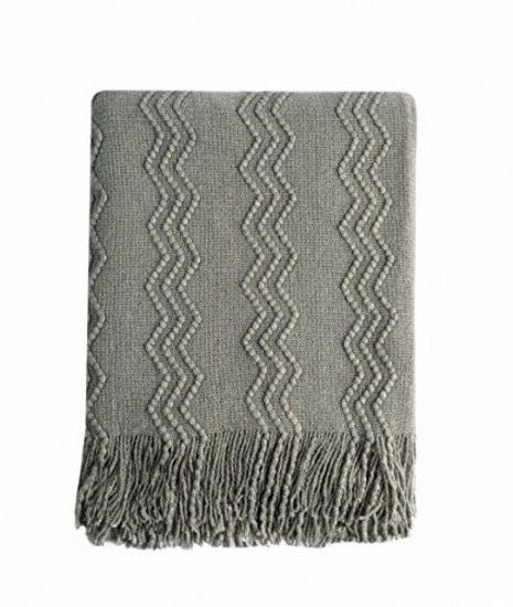 Gray Knitted Throw Blanket Soft Sofa Couch Cover Elegant