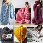 Handmade Chunky Knitted Blanket New Comfy Wool Thick Line Ya