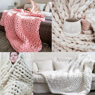 Handmade Large Warm Sofa Chunky Knit Blanket Thick Bulky Kni