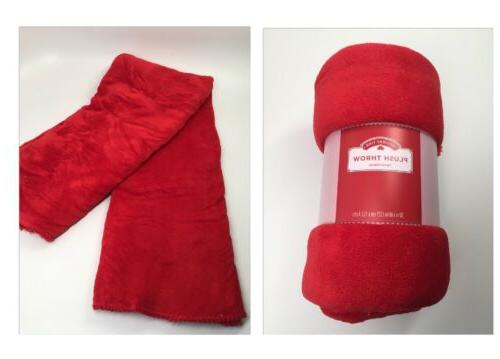 Holiday Time Plush Throw Racer Red 50 x 60 inches Blanket