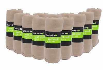 Imperial 50 x 60 Inch Ultra Soft Fleece Throw Blanket - Tan