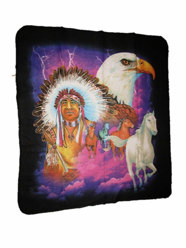 Indian Native American Bald Eagle Horse Chief 50x60 Polar Fl