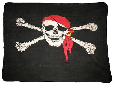 Jolly Roger Red Hat Pirate Skull and Bones 50 x 60 Polar Fle